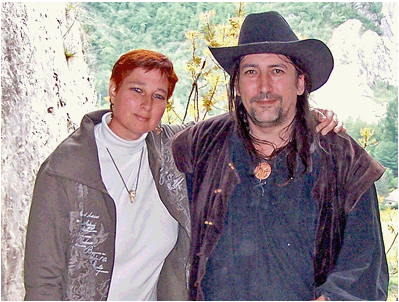Author Jeanne D'Août with Richard Stanley (Otto Rahn documentary Secret Glory) in one of Rahn's favourite Sabarthès caves.