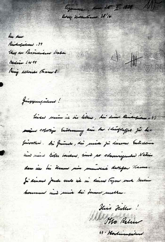 Otto Rahn's Resignation from SS letter