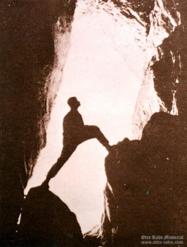 Otto Rahn in the grotto of Ornolhac - summer 1932