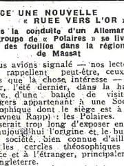 Est-ce une nouvelle «ruee vers l'or»? - Article in La Depeche, 1932