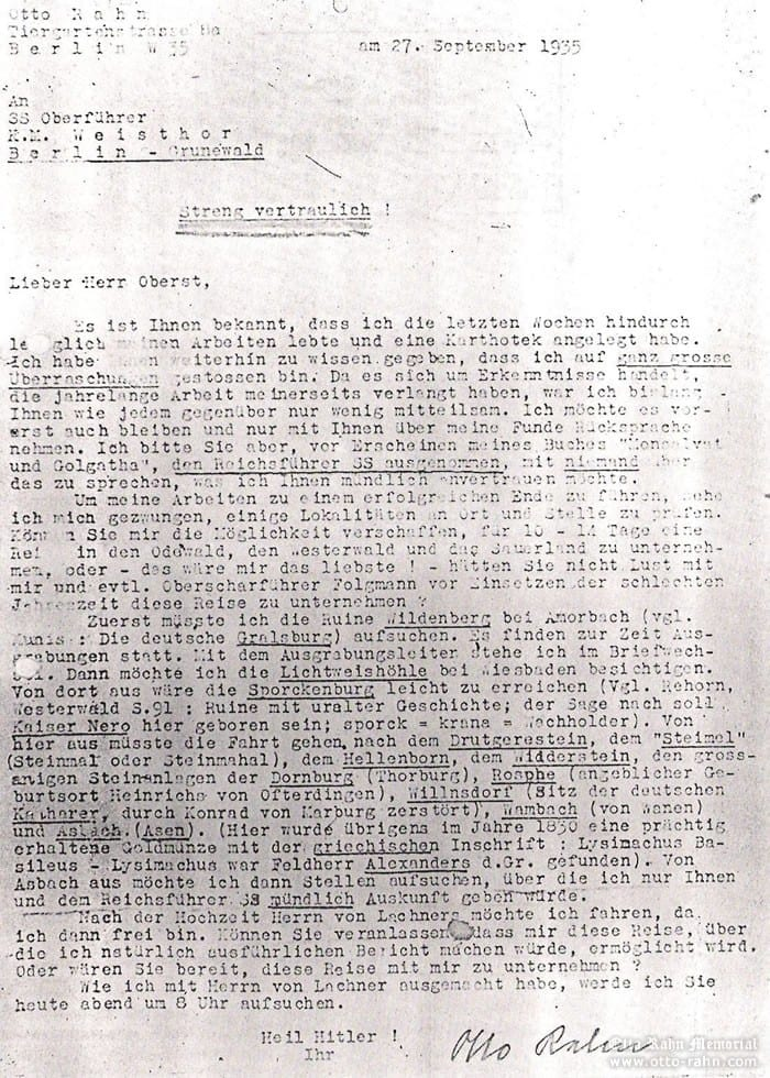 Rahn's letter to Wiligut, 27.9.1935 (page 1)
