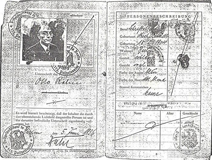 passport of Otto Rahn, page 2