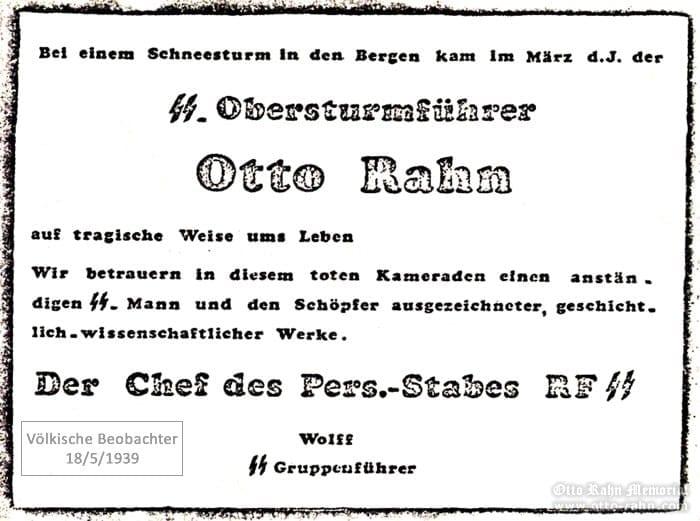Otto Rahn Völkische Beobachter 18/5/1939