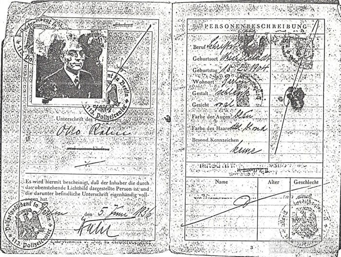 passport of Otto Rahn, page 2