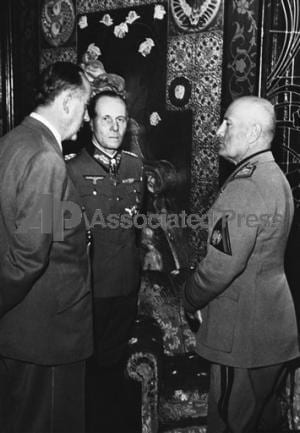 Otto Rahn, Erwin Rommel, Benito Mussolini in Italy on Jan. 22, 1944