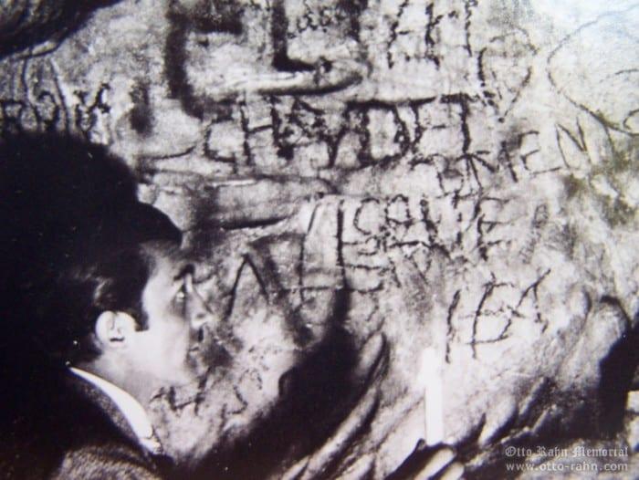 Otto Rahn exploring caves grafiti