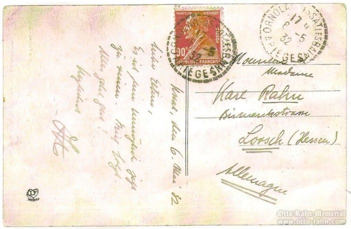 Postcard  send by Otto Rahn to his father Karl