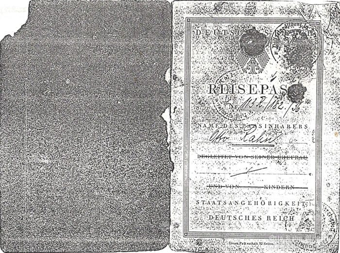 passport of Otto Rahn, page 1