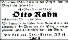 Otto Rahn death in the newspaper