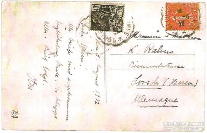 Postcard  send by Otto Rahn to his father Karl from Ussat-les-Bains at 1.8.1932