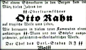 Newspaper report announcing Rahn's death