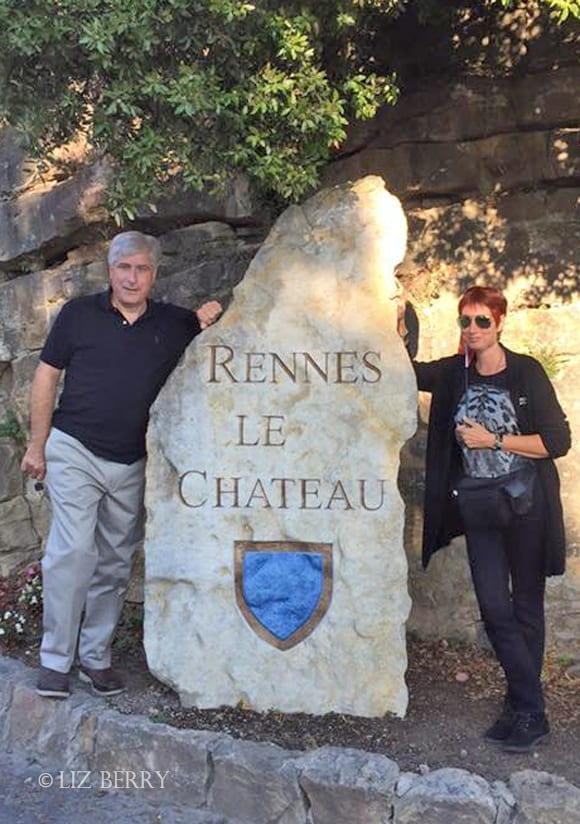 Jeanne with New York Times bestselling author Steve Berry in Rennes-le-Chateau, 2016.