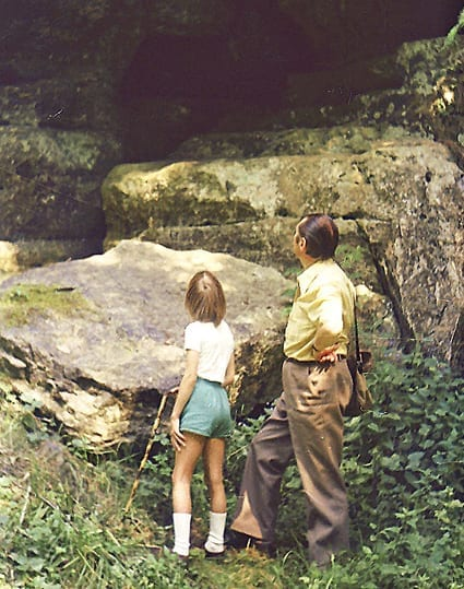 Jeanne D'Aout and her dad exploring (she was 7).